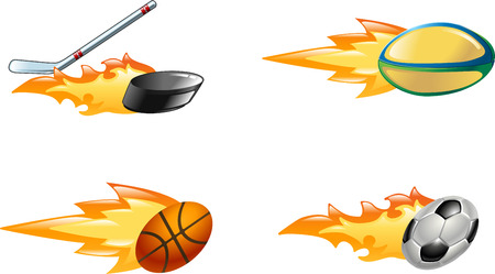 A glossy shiny flaming sport icon set. Rugby ball, ice hockey stick striking puck, basketball ball and soccer or football ball zooming through the air with flames and fire zooming out the back