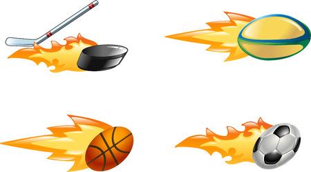 fire and ice: Een glanzend glanzende vlammende sport icon set. Rugby bal, ijshockey stick opvallend puck, basketbal bal en voetbal of voetbal bal zoomen door de lucht met vlammen en vuur uitzoomen de achterkant