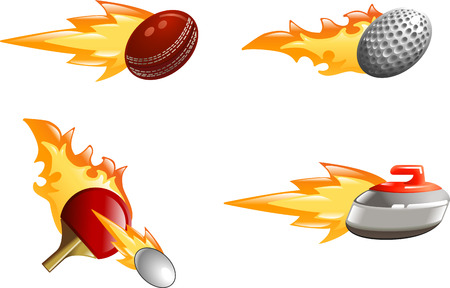A glossy shiny sport icon set with flames and fire. Golf ball, cricket ball, ping pong bat and ball and curling stone flying fast through the air with flames and fire jetting out the back