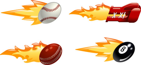 A glossy shiny flaming sport icon set. Baseball ball, boxing glove, cricket ball and black pool eight ball flying fast through the air with flames and fire shooting out the back  Vector