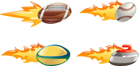 A glossy shiny sport icon set with flames and fire. American football ball, baseball ball, rugby ball and curling stone flying fast through the air with flames and fire jetting out the back