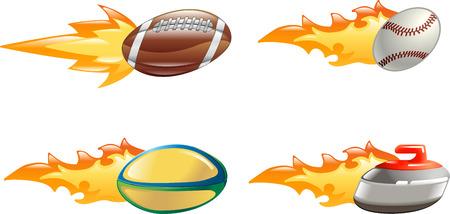 pelota beisbol: Un brillo brillante deporte icono conjunto con llamas y fuego. Bola de f�tbol americano, b�isbol de pelota, bal�n de rugby de piedra de curling y de vuelo r�pido a trav�s del aire con el chorro de fuego y llamas a la parte de atr�s