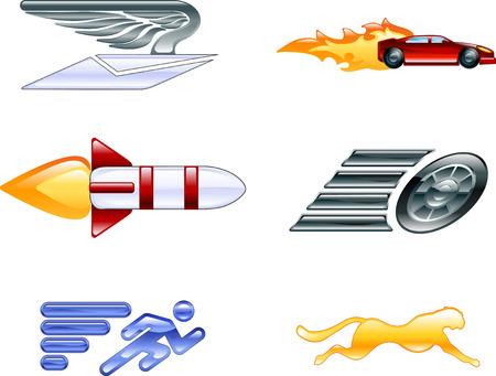 martinet: Un jeu d'ic�nes conceptuelles relatives � la vitesse, �tre rapide, et  ou efficace. Illustration