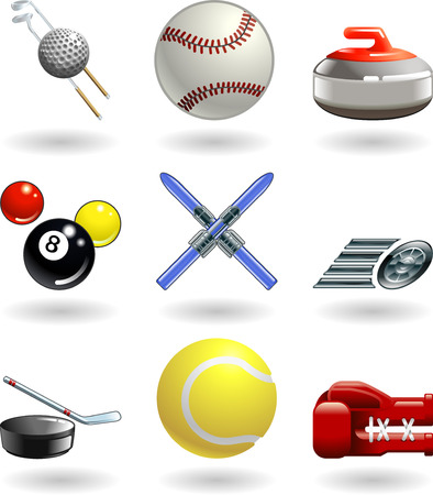 Series set of shiny colour icons or design elements related to sports  Illustration