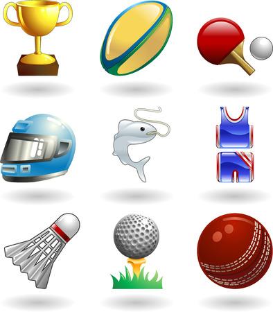vogelspuren: Serie Reihe von gl�nzenden Farbe Icons oder Design-Elemente im Zusammenhang mit Sport