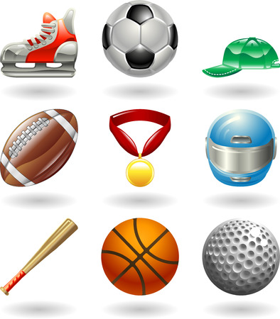 shiney: Series set of shiny colour icons or design elements related to sports  Illustration