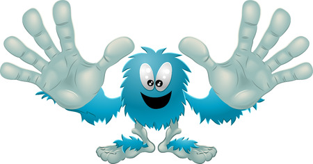 Illustration of a cute friendly furry blue monster