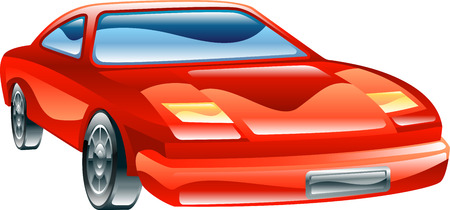 A glossy stylised red sports car icon  Vector