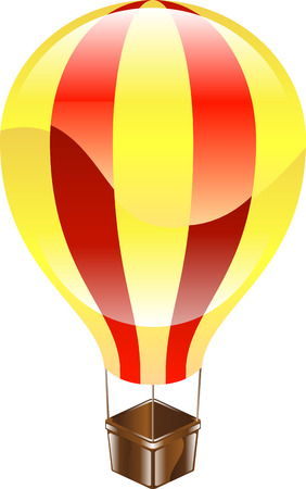 A yellow and red glossy hot air balloon icon illustration  Vector