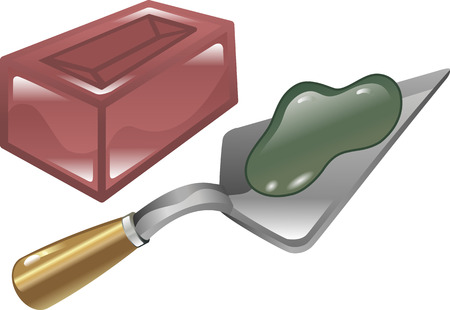grout: Red brick mortar and trowel shiny icon illustration