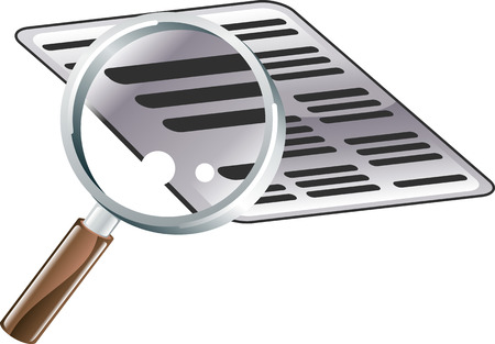 An illustration of looking at a document with a magnifying glass. Icon could symbolise searching or examining files or documents 