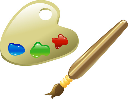 a glossy paintbrush and paints on palette icon illustration  Vector