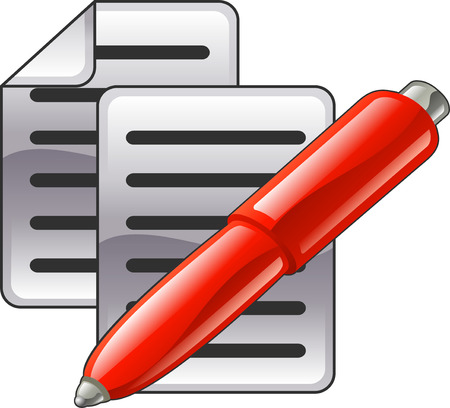 contracts: Shiny red pen and documents or contacts icon illustration.