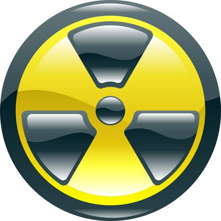 A glossy shiny radiation symbol icon illustration  Vector
