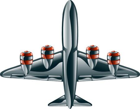 A glossy metallic passenger commercial aeroplane icon illustration.  Vector