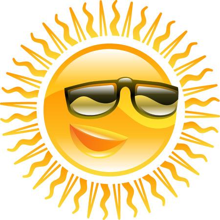 soleil souriant: Un sourire soleil avec des lunettes de soleil ic�ne illustration Illustration