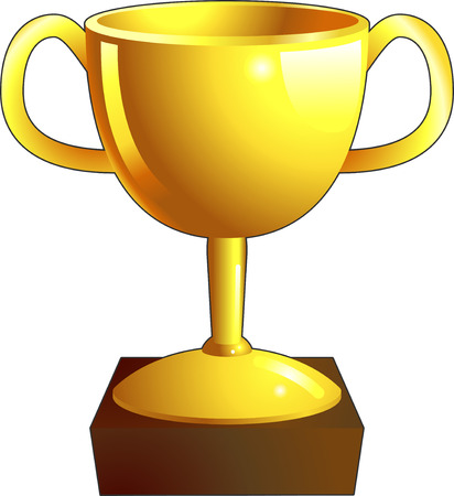 A gold shiny winners trophy illustration icon  Vector