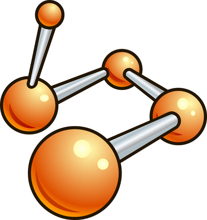 A shiny molecule illustration icon made up of glossy orange balls and metallic bars