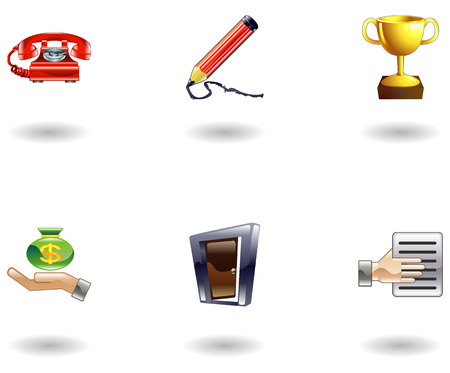 A set of glossy business and office icons Stock Vector - 4587415