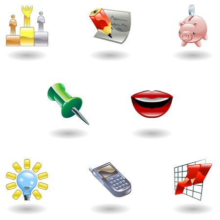 clipart podium: A set of glossy business and office icons  Illustration