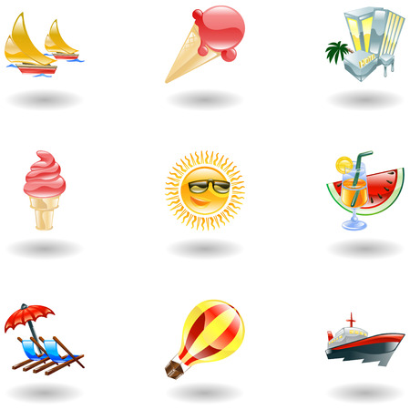 watermelon boat: A set of glossy sunny summer icons  Illustration