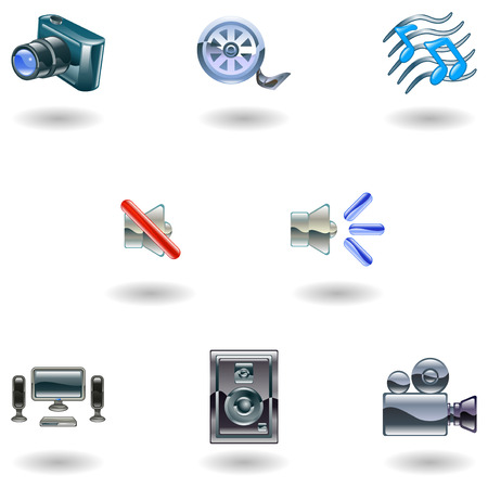 home video camera: A set of shiny slossy media icons