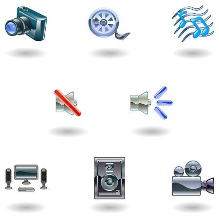 A set of shiny slossy media icons Stock Vector - 4587413