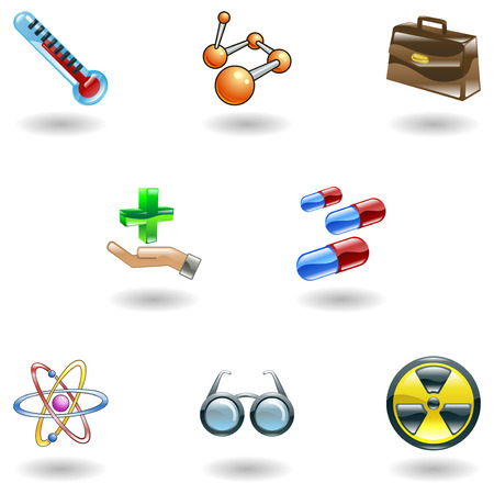 A set of shiny glossy medical icons  Vector
