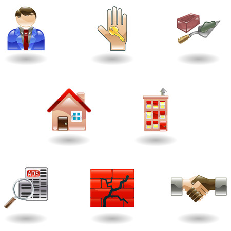 hand trowel: A set of shiny glossy real estate icons  Illustration