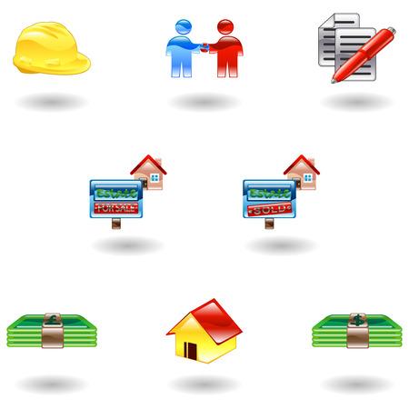 shinning: Un conjunto de brillantes brillante inmobiliario iconos
