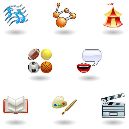 a subject or category icon set eg. science, language, literature, history, music, physical education etc  Vector