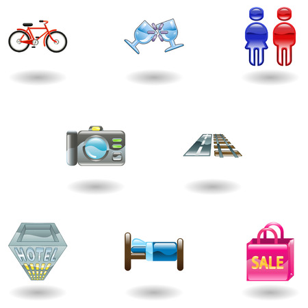 Tourist locations icon set Icon set relating to city or location information for tourist web sites or maps etc. Stock Vector - 4587420