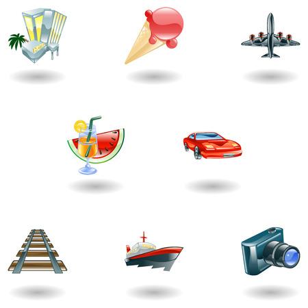 flying boat: Una web de viajes y turismo icono conjunto Vectores