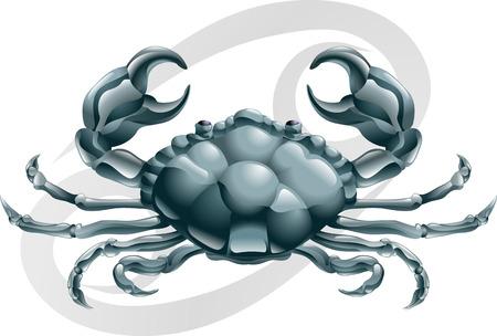 signes du zodiaque: Illustration repr�sentant le cancer de l'�toile de crabe ou de signe de naissance. Inclut le symbole ou une ic�ne en arri�re-plan Illustration