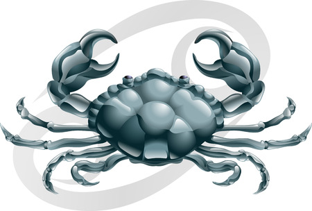 crabs: Illustration representing Cancer the crab star or birth sign. Includes the symbol or icon in the background