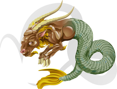 zodiacal: Illustration representing Capricorn the sea goat star or birth sign. Includes the symbol or icon in the background