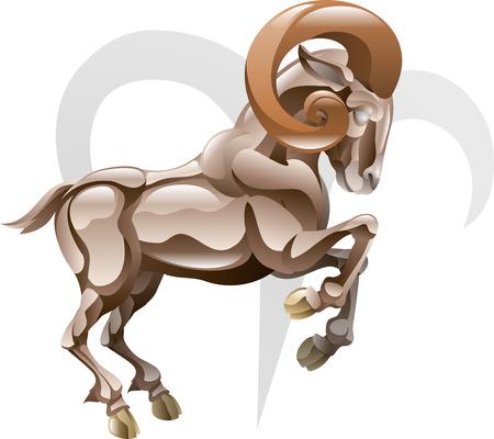 ch�vres: Illustration repr�sentant l'�toile du B�lier b�lier ou signe de naissance. Inclut le symbole ou une ic�ne en arri�re-plan