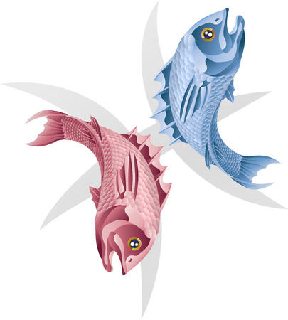 Illustration representing Pisces the fish star or birth sign. Includes the symbol or icon in the background Illustration