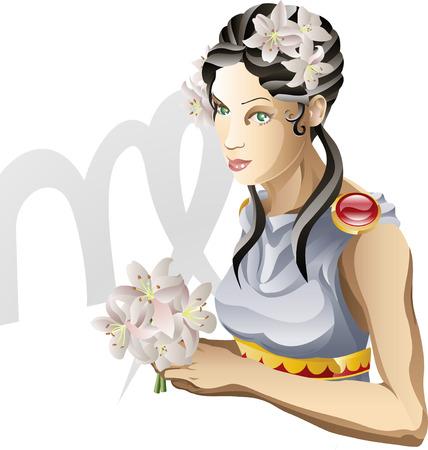jungfrau: Illustration, die Jungfrau der Jungfrau-Sterne-Zeichen oder der Geburt. Enth�lt das Symbol oder das Symbol in den Hintergrund