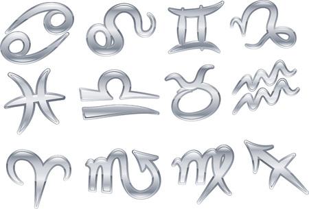 A series set of zodiac birth sign icon symbols Stock Vector - 4713074