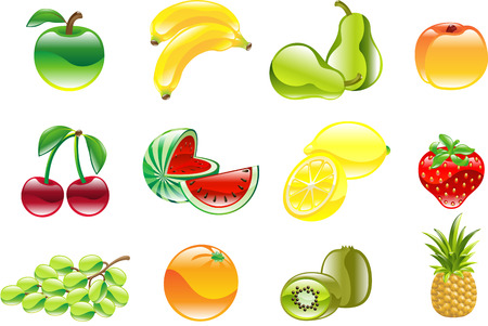 lemon wedge: A gorgeous shiny glossy fruit icon set