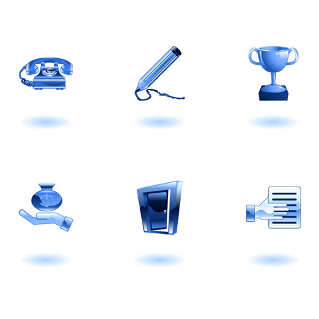A set of glossy business and office icons Stock Vector - 4814151