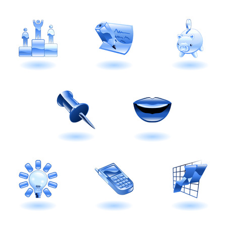 A set of glossy business and office icons  Vector