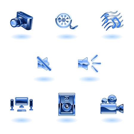 A set of shiny slossy media icons Stock Vector - 4814153