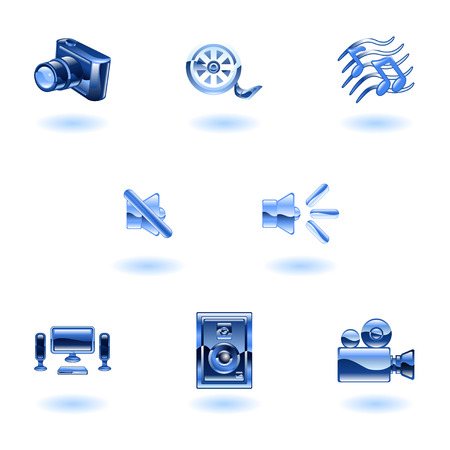 A set of shiny slossy media icons  Vector