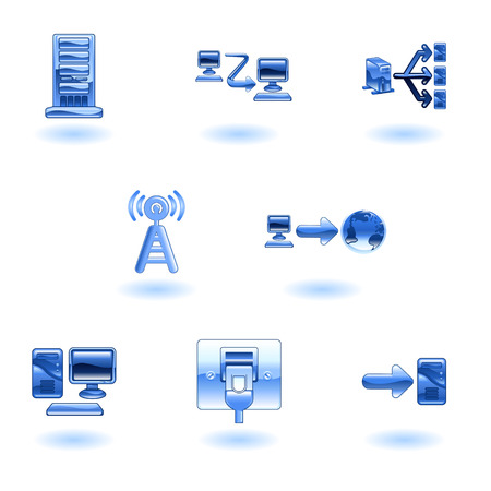 A glossy computer network and internet icon set  Vector