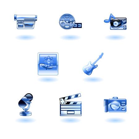 A set of shiny glossy media icons Vector
