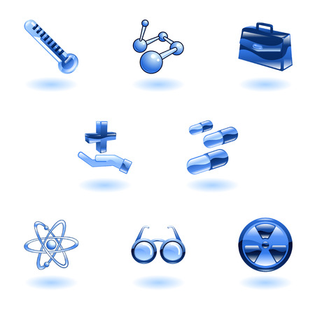 A set of shiny glossy medical icons Stock Vector - 4814149