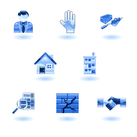 A set of shiny glossy real estate icons Stock Vector - 4814156