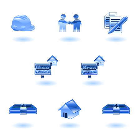 A set of shiny glossy real estate icons Vector